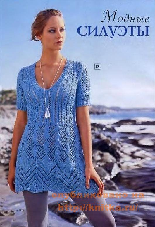 голубое мини-платье