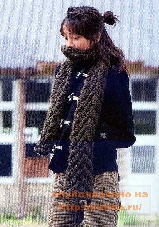 Далее вязать по схеме 292 ряда.  Схема шарфа из японского журнала.Размер шарфа: 20 см * 181 см.