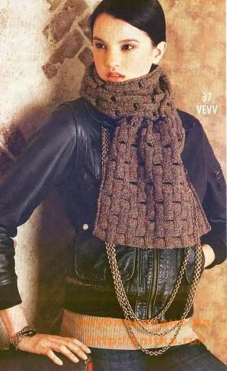 Схемы вязания шарфов спицами с описанием: снуд, хомут, труба, коса.