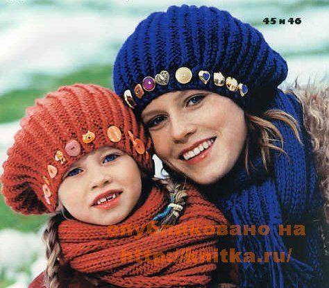 Берет и шарф спицами для девочки