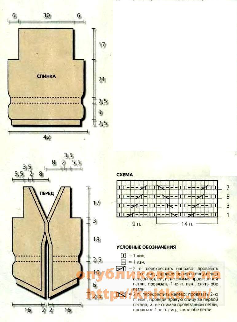 Схема вязание спицами жилета - выкройка жилета