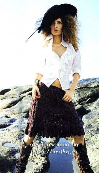 фото ажурной юбки спицами