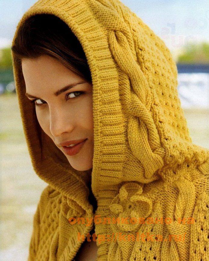 Желтое пончо. Вязание спицами.