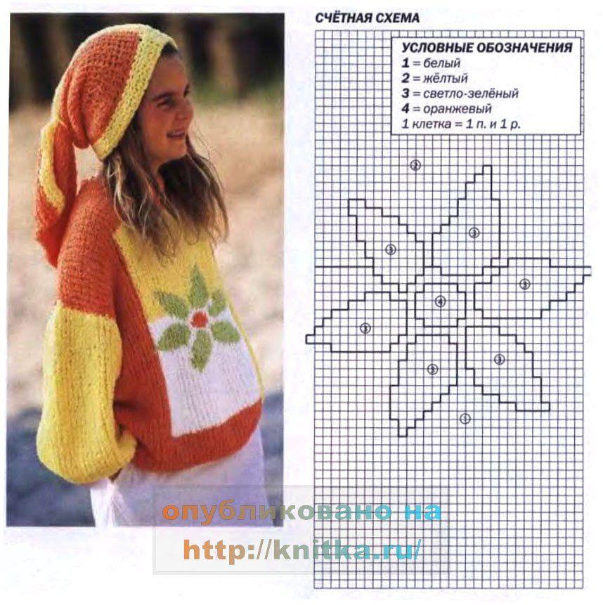 схема счетного мотива для вязаного джемпера и выкройка. http://knitka.ru/1317/detskij-pulover-s-cvetkom.html.