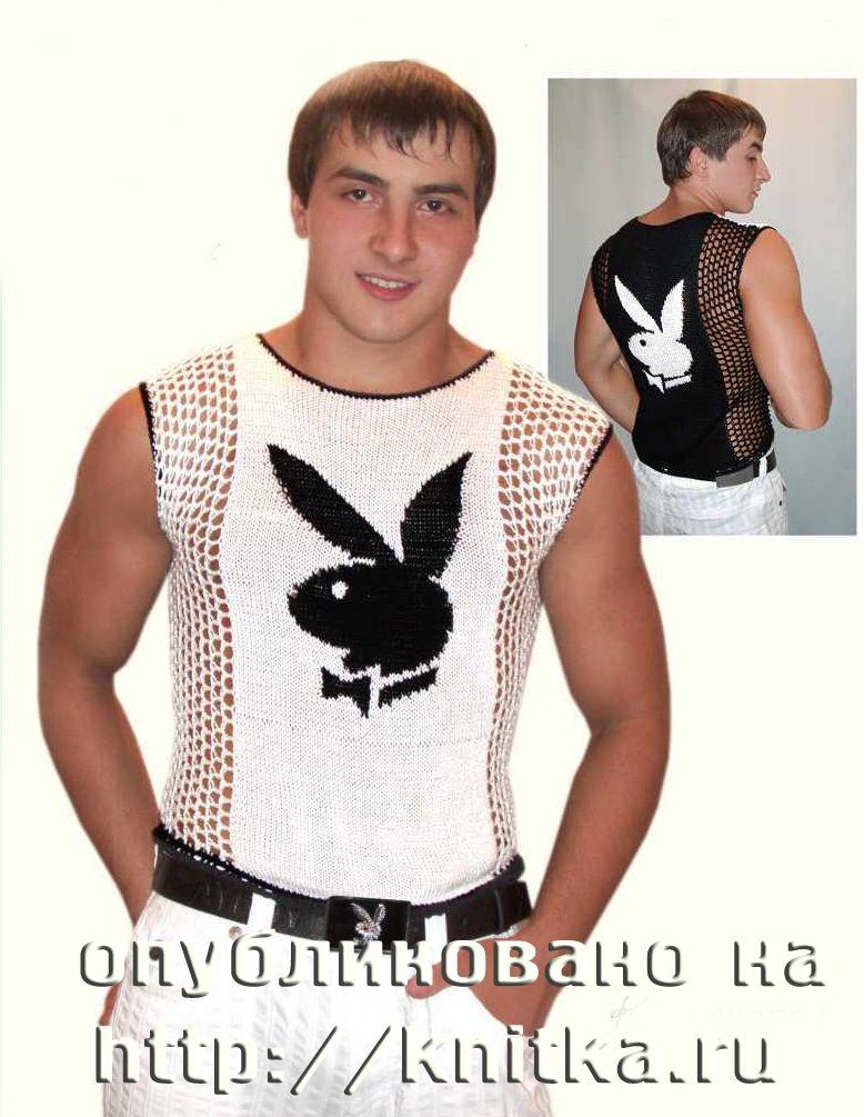 схема вязания спицами мужской кофты.