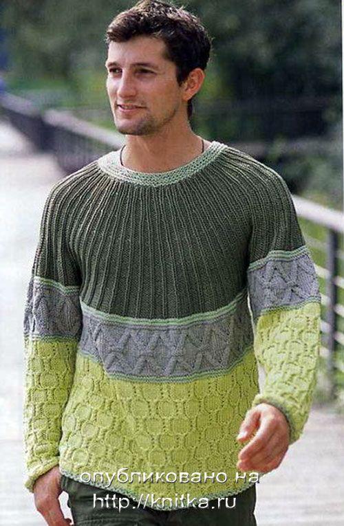 Приятно удивите своего мужчину, связав ему спицами оригинальный свитер с круглой в зеленых тонах.