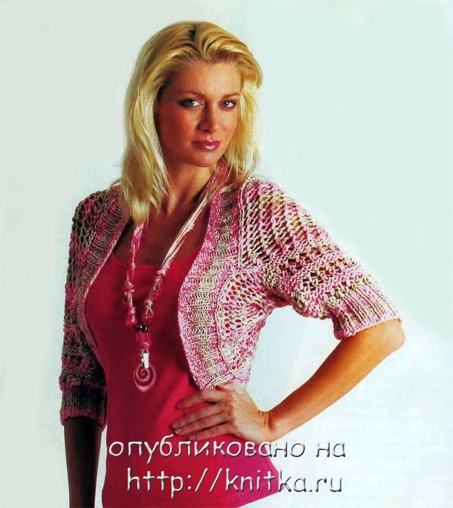 """На нашем женском сайте  """"Дамочка """" Вы всегда найдете новость - вязание спицами болеро схемы девушки, с фотографиями..."""