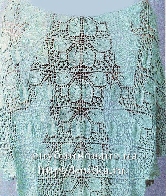 Вязание шалей с узором из листьев. Вязание спицами.