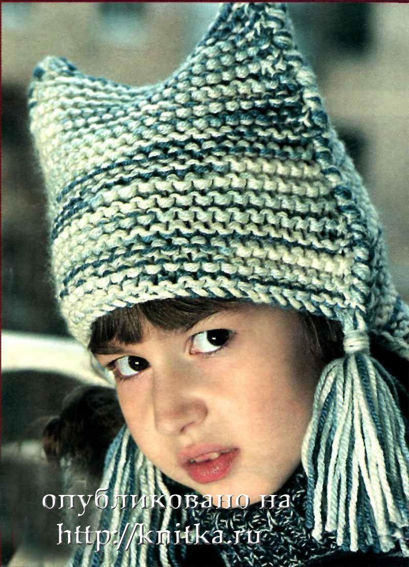 Шапочки для девочки вязанные на спицах.