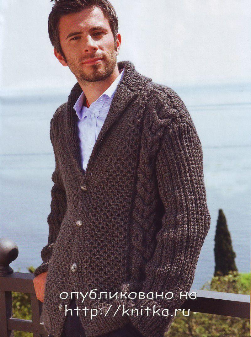 Мужской теплый жакет. Вязание спицами.