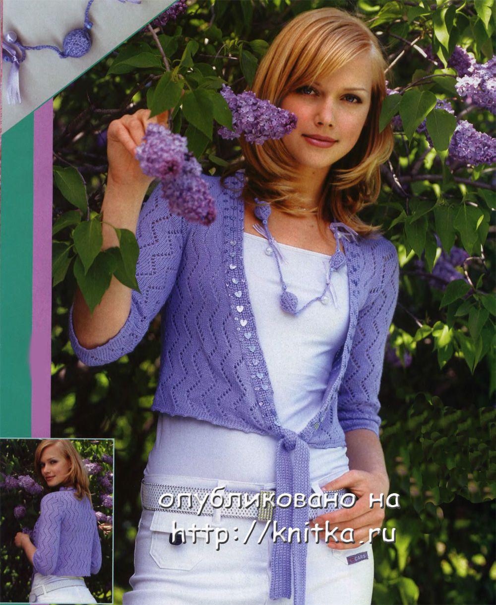 Фиолетовый жакет. Вязание спицами.