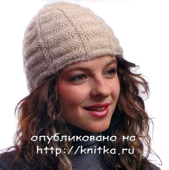 Схема вязания спицами модной шапки