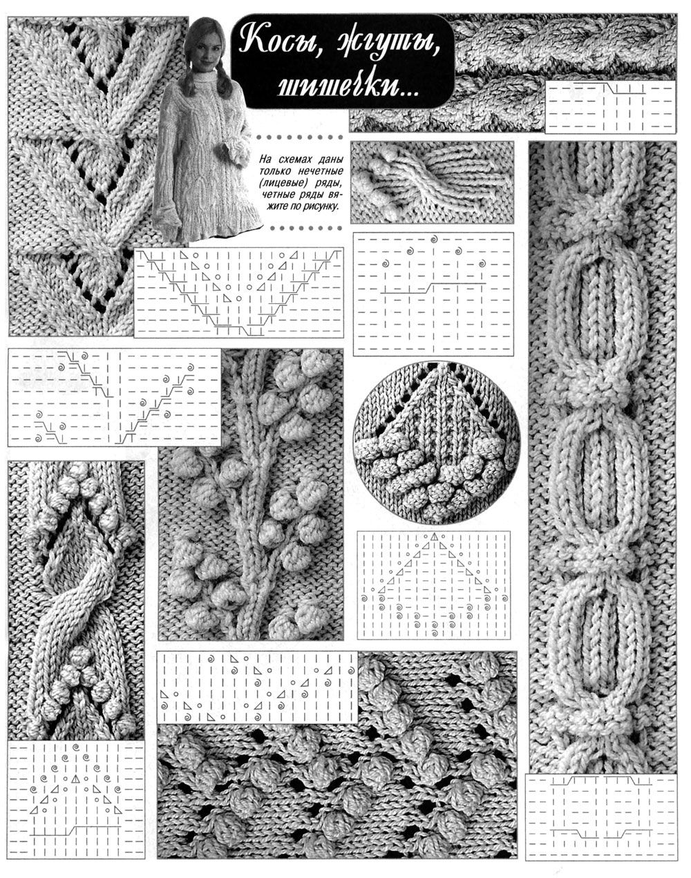 Схема вязания спицами узоров косами.