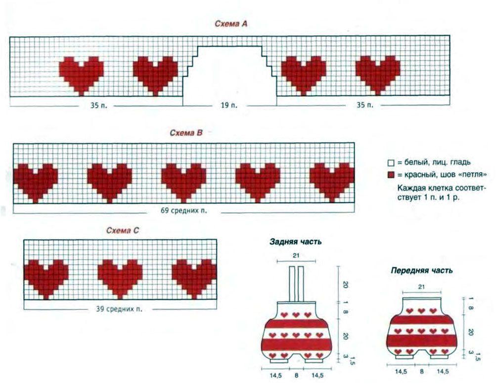 Описание и схема узора сердечки