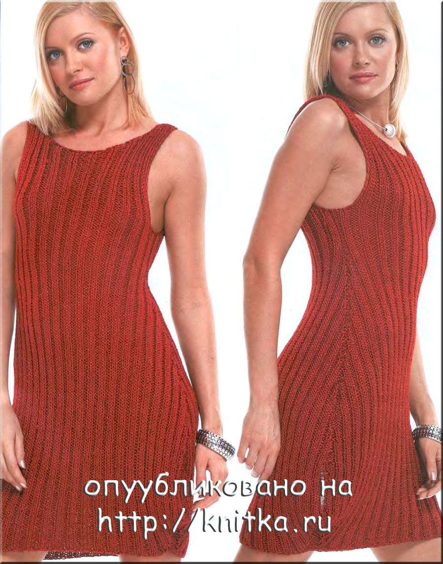 Вязание на двух спицах платья схемы.