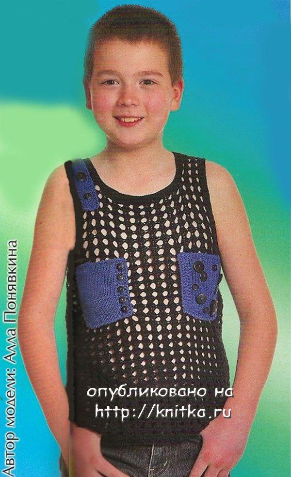 """Комбинат им. С. М. КИРОВА """" (100% хлопка, 300 м/25 г)... Майка с синими кармашками - вязание для детей."""
