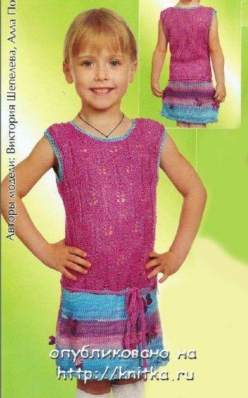 Платье с заниженной талией. Вязание спицами.