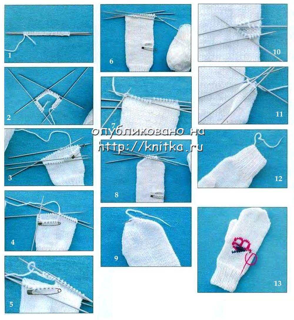 Вязание на спицах варежки со схемами