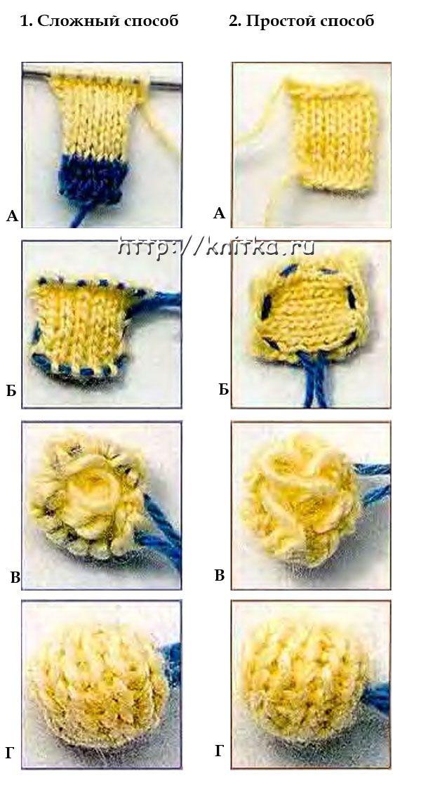как связать пуговицу спицами вязание для начинающих