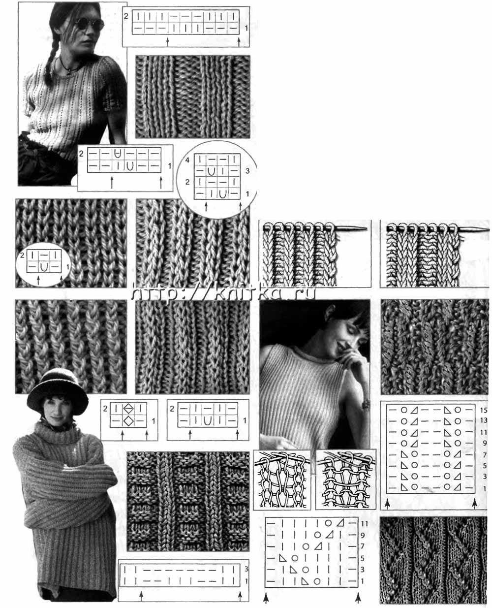 Вязание спицами резинки- более 40 видов. .  Часть 1 - Узоры и схемы для вязания .  Часть 35 - Схема вязки английской...