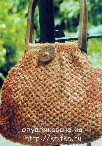 Вязаная сумка с деревянными ручками. Вязание спицами.