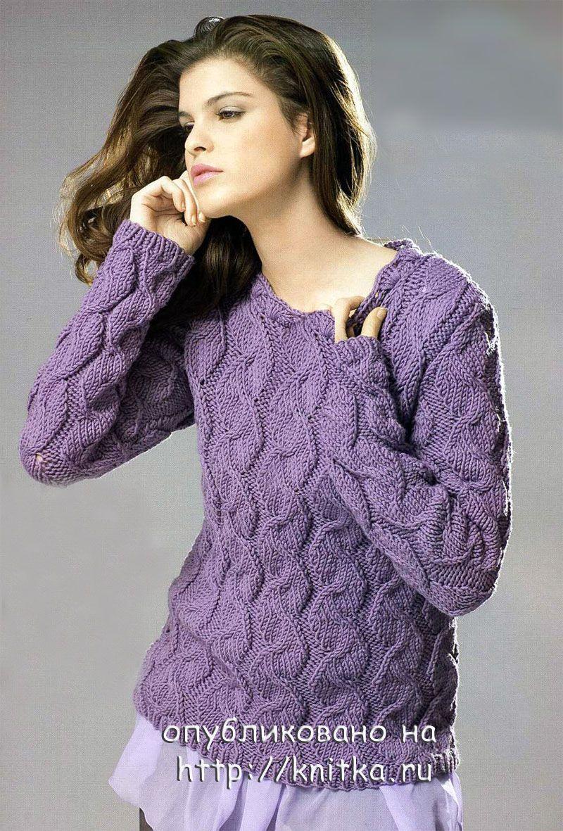 теплый свитер спицами.