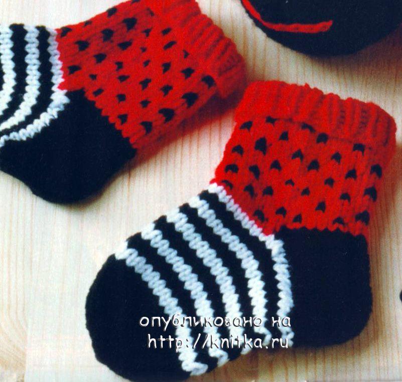 вязание носков божьи коровки вязание для детей