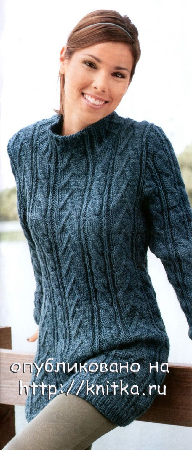 длинный свитер платье связанный спицами вязание для женщин