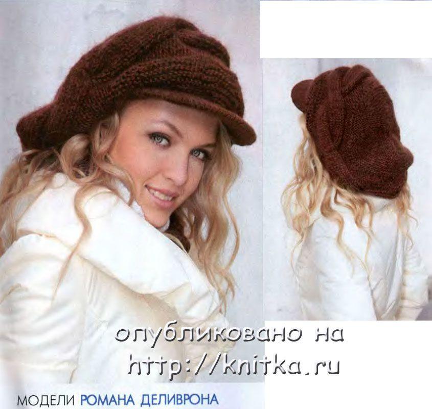 объемный кепи связанный спицами вязание для женщин