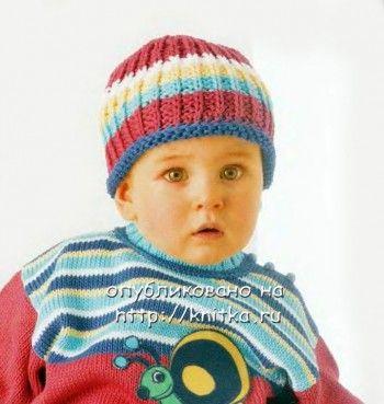 Полосатая шапочка для малыша. Вязание спицами.
