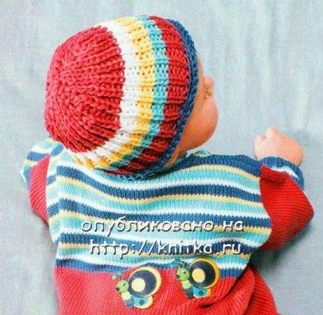 Полосатая шапочка для малыша