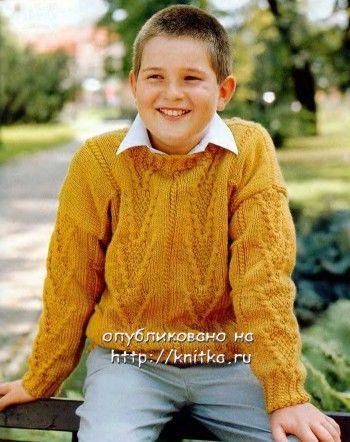свитер для мальчика, связанный спицами
