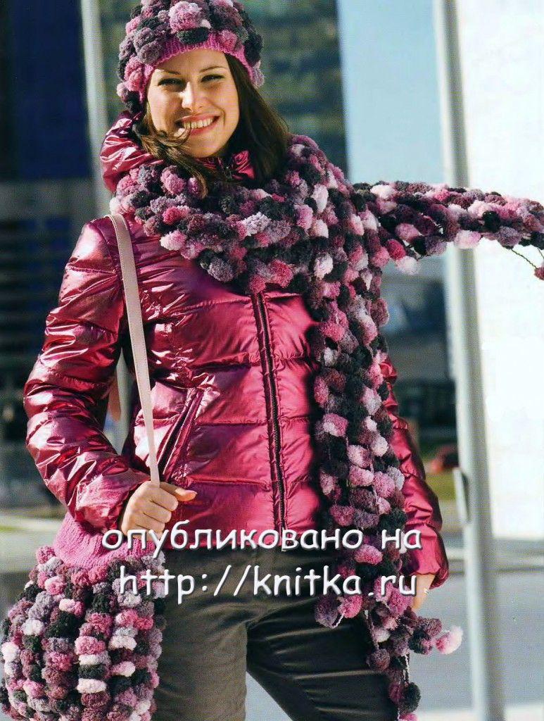 """Шапка, шарф и сумка из """"помпонов"""""""