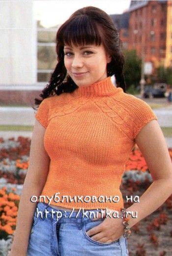 Оранжевый топ. Вязание спицами.
