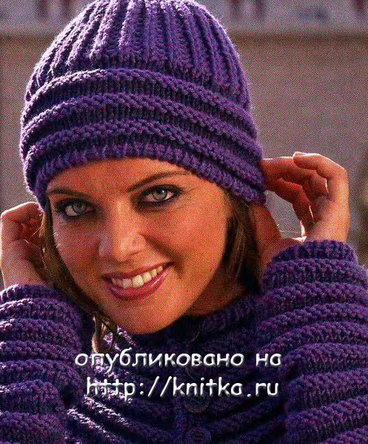 вязаные женские шапки спицами схемы.
