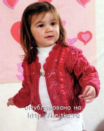 Красная ажурная кофточка. Вязание спицами. 0n