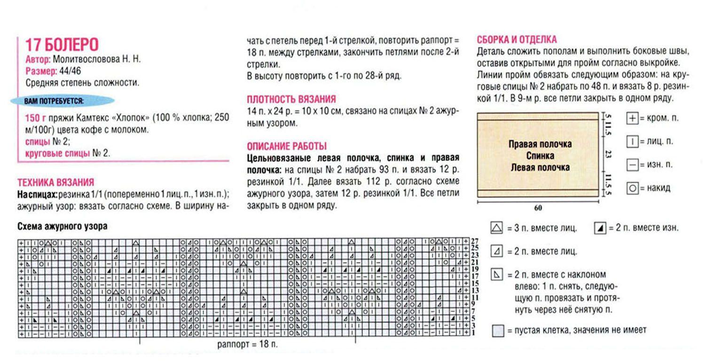 Схема для вязания болеро на спицах 491