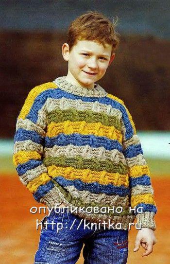 Полосатый джемпер для мальчика. Вязание спицами.