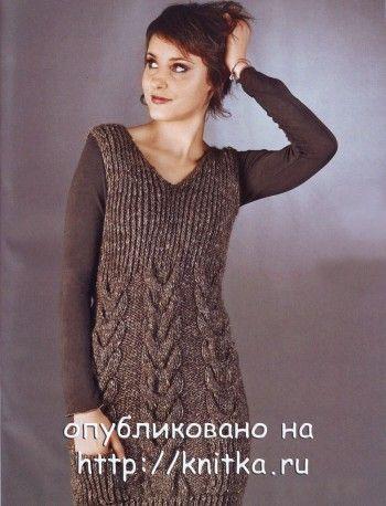 Мини-платье с узором. Вязание спицами.