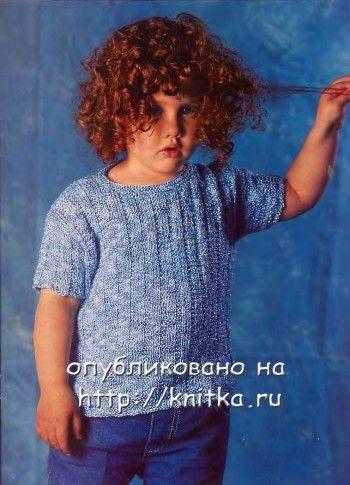 Голубой джемпер для мальчика. Вязание спицами.
