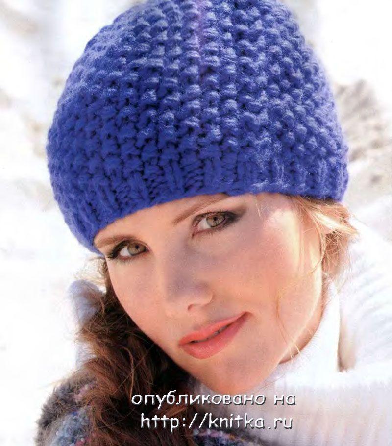 Схема вязания объемной шапки спицами для женщин 475