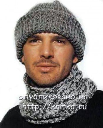 Серая шапочка и шарф для мужчины, вязание спицами