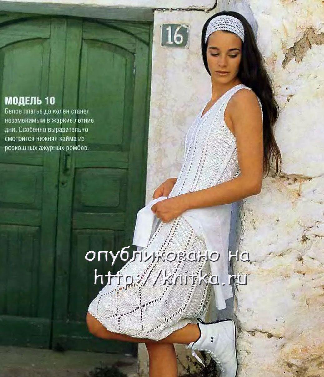 Белое летнее платье связанное спицами