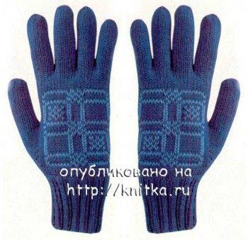 Голубые перчатки связанные спицами