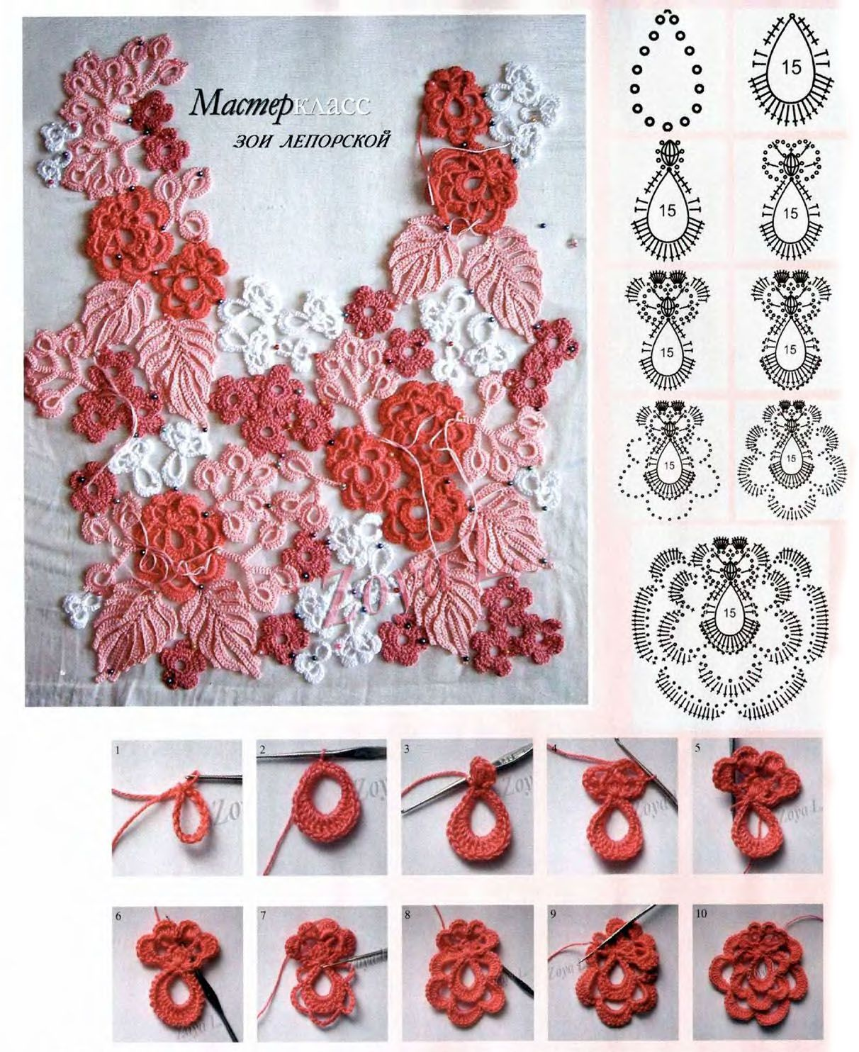 Ирландское кружево. вязание крючком. схемы элементов