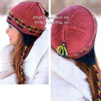 Вязаная шапочка в спортивном стиле, вязание спицами