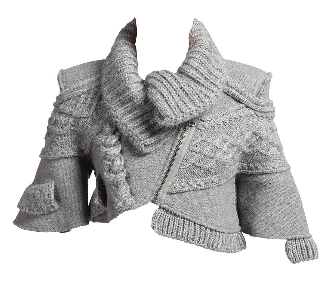 оригинальный вязаный спицами жакет вязание для женщин