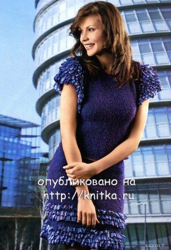 Юбка и блуза, связанные спицами