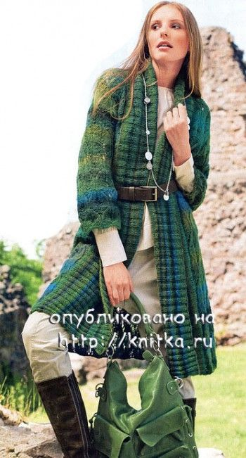 Вязаное пальто. Вязание спицами.