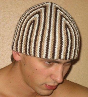 Супер-шапка для мужчины связанная спицами